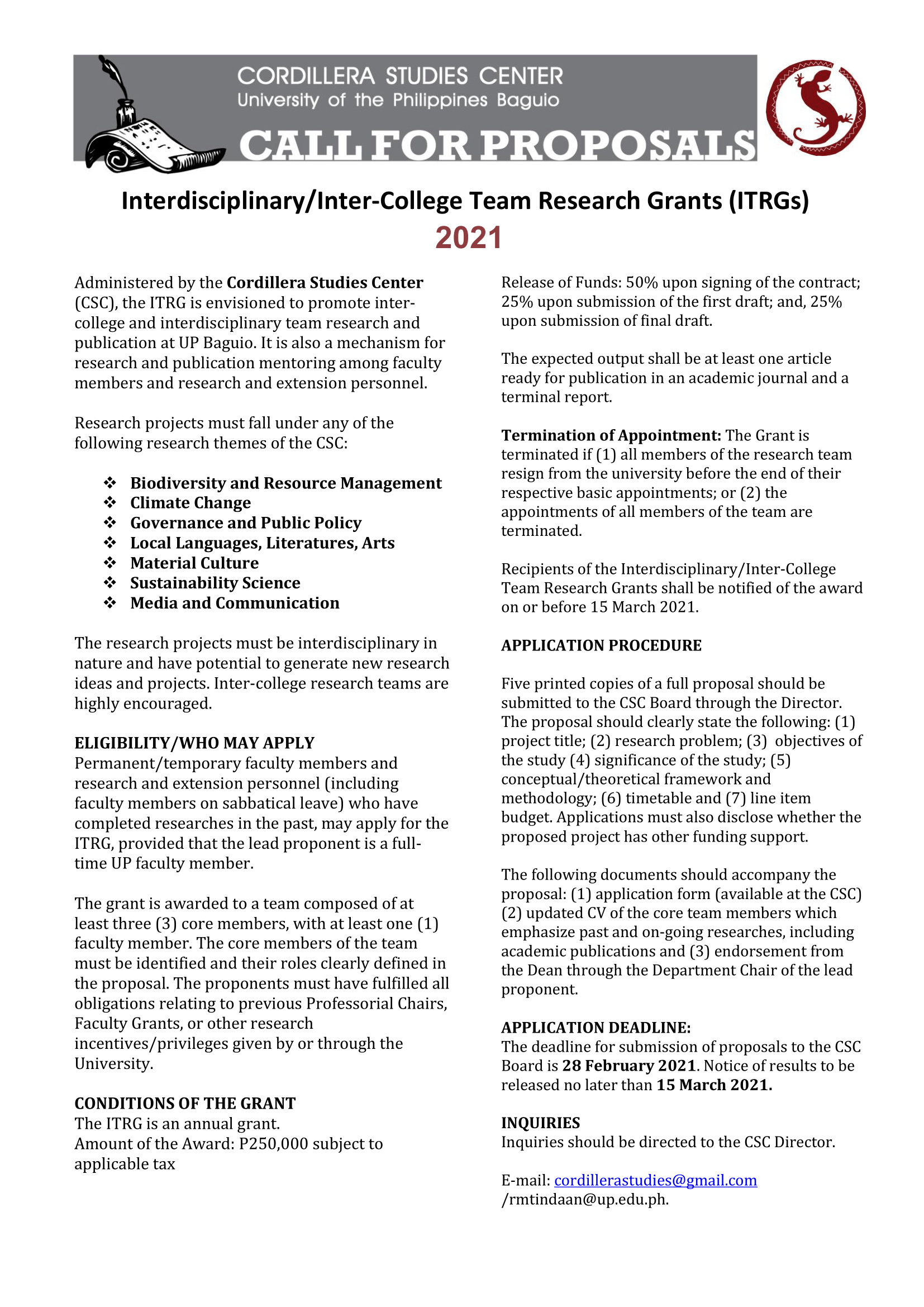 Research Grant Call for Proposals